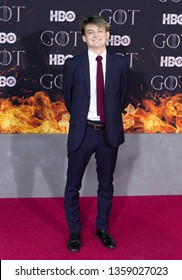 New York, NY - April 3, 2019: Jack Gleeson attends HBO Game of Thrones final season premiere at Radion City Music Hall