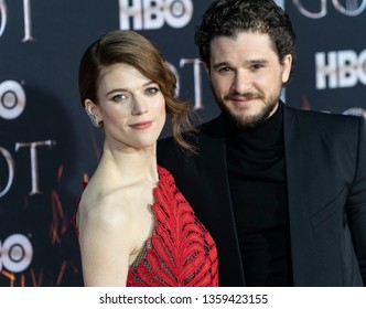 New York, NY - April 3, 2019: Rose Leslie wearing dress by Oscar de la Renta and Kit Harington attend HBO Game of Thrones final season premiere at Radion City Music Hall