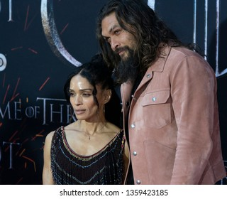New York, NY - April 3, 2019: Lisa Bonet and Jason Momoa attend HBO Game of Thrones final season premiere at Radion City Music Hall