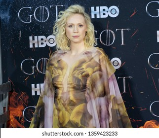 New York, NY - April 3, 2019: Gwendoline Christie wearing dress by Iris van Herpen attends HBO Game of Thrones final season premiere at Radio City Music Hall