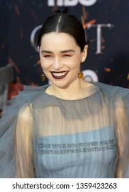 New York, NY - April 3, 2019: Emilia Clarke attends HBO Game of Thrones final season premiere at Radio City Music Hall