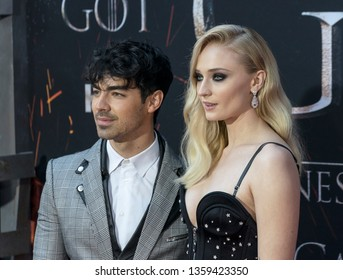 New York, NY - April 3, 2019: Joe Jonas and Sophie Turner attend HBO Game of Thrones final season premiere at Radio City Music Hall