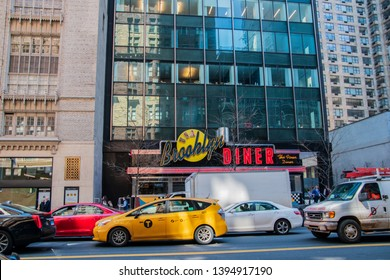 New York, NY - April 3, 2019: Front of the famous Brooklyn Diner located in Manhattan, New York City as seen on this date
