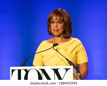 New York, NY - April 30, 2019: Gayle King announces 2019 TONY Awards Nominations at New York Public Library for Performings Arts
