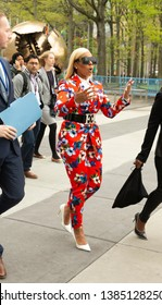 New York, NY - April 30, 2019: Ashanti wearing suit by Escada tours UN before attending press briefing on upcoming Play it Out Concert to beat plastic pollution at UN Headquarters