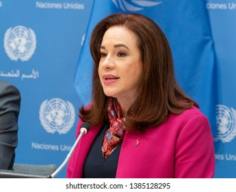 New York, NY - April 30, 2019: President of General Assembly Maria Fernanda Espinosa Garces attends press briefing on upcoming Play it Out Concert to beat plastic pollution at UN Headquarters