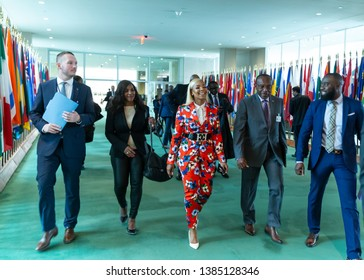 New York, NY - April 30, 2019: Ashanti tours UN before attending press briefing on upcoming Play it Out Concert to beat plastic pollution at UN Headquarters