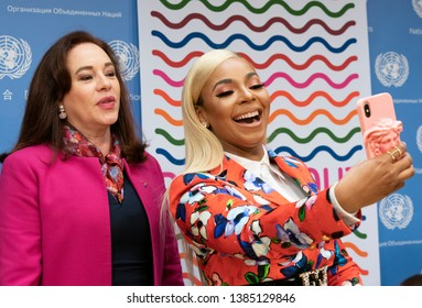 New York, NY - April 30, 2019: President of GA Maria Fernanda Espinosa Garces & Ashanti do selfie after press briefing on upcoming Play it Out Concert to beat plastic pollution at UN Headquarters
