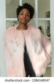New York, NY - April 30, 2019: Model shows off coat for N'onat Faux Fur Coat Collection Debut by Nihan Onat at 24th street loft