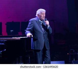 New York, NY - April 4, 2019: Tony Bennett performs on stage during Jazz Foundation of America benefit concert Great Night in Harlem at Apollo Theatre