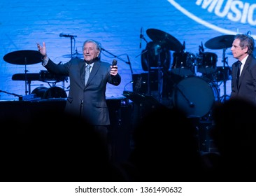New York, NY - April 4, 2019: Tony Bennett & Ben Stiller on stage during Jazz Foundation of America benefit concert Great Night in Harlem at Apollo Theatre