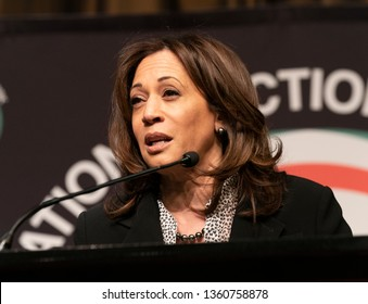 New York, NY - April 5, 2019: Democratic Presidential candidate US Senator Kamala Harris speaks during National Action Network 2019 convention at Sheraton Times Square.