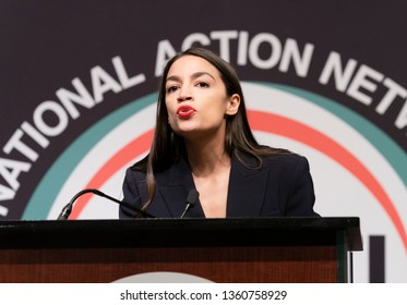 New York, NY - April 5, 2019: US Congresswoman Alexandria Ocasio-Cortez speaks during National Action Network 2019 convention at Sheraton Times Square.