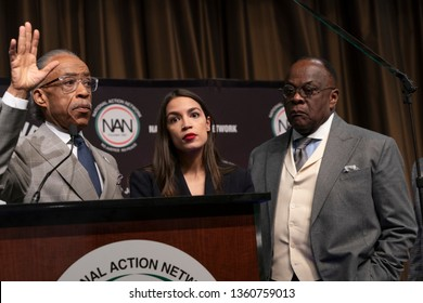New York, NY - April 5, 2019: Al Sharpton, US Congresswoman Alexandria Ocasio-Cortez, Franklyn Richardson attend National Action Network 2019 convention at Sheraton Times Square.