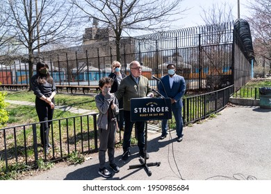 """New York, NY - April 6, 2021: NYC comptroller and mayoral candidate Scott Stringer proposed """"Summer in the City"""" Agenda at presser at Commodore Barry Pool"""