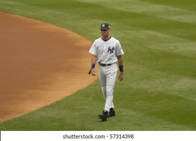 NEW YORK, NY - AUG. 7: Derek Jeter is seen walking across the field in Yankee Stadium on August 7, 2003 in New York, NY.
