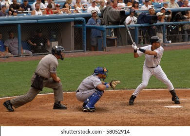 NEW YORK, NY - AUG. 7: Derek Jeter is seen at bat in Yankee Stadium on August 7, 2003 in New York, NY.