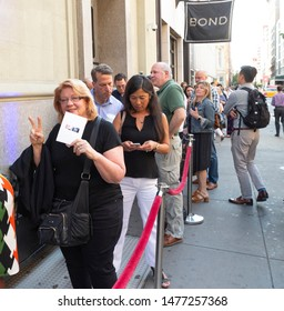 New York, NY - August 12, 2019: People lined up for Democratic presidential candidate US Senator Cory Booker campaign grassroots Happy Hour fundraiser event at the nightclub Slate