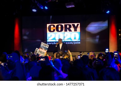 New York, NY - August 12, 2019: Democratic presidential candidate US Senator Cory Booker speaks at campaign grassroots Happy Hour fundraiser event at the nightclub Slate