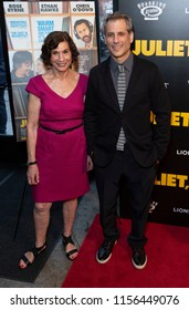 New York, NY - August 14, 2018: Jane Mendel-Wyker and Barry Mendel attend premiere of 'Juliet, Naked' at Metrograph