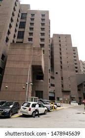 New York, NY - August 14, 2019: View of Metropolitan Correctional Center where accused sex trafficker Jeffrey Epstein committed suicide on August 10, 2019