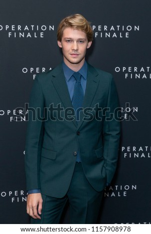 New York, NY - August 16, 2018: Joe Alwyn attends Operation Finale premiere at Walter Reade Theatre Lincoln Center