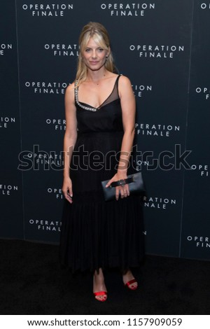 New York, NY - August 16, 2018: Melanie Laurent wearing dress by Rochas attends Operation Finale premiere at Walter Reade Theatre Lincoln Center