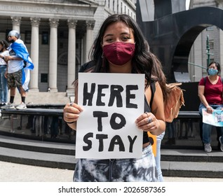 New York, NY - August 17, 2021: Few dozens of DACA recipients rally on Foley Square demanding citizenship now for all undocumented immigrants