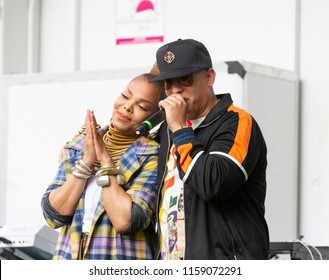 New York, NY - August 18, 2018: Janet Jackson and Daddy Yankee celebrate release of single Made For Now during 44th annual Harlem Week at St. Nicholas Park