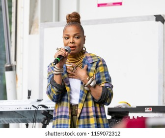 New York, NY - August 18, 2018: Janet Jackson celebrates release of single Made For Now during 44th annual Harlem Week at St. Nicholas Park