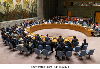 New York, NY - August 2, 2018: General view of Security Council meeting on situation in Yemen at United Nations Headquarter