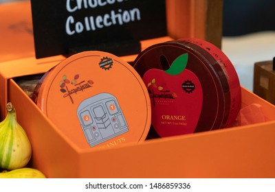 New York, NY - August 22, 2019: Chef Jacques Torres presents chocolate sweets at USTA introduction for eclectic culinary and fine dining options at Billie Jean King National Tennis Center