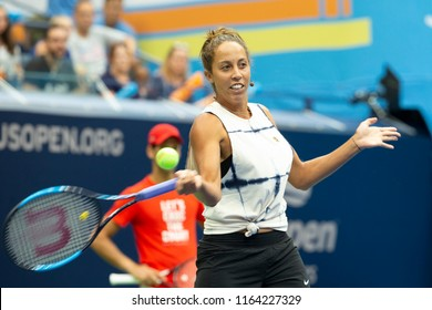 New York, NY - August 25, 2018: Madison Keys attends US Open Championship Kids Day at USTA Billie Jean King National Tennis Center Arthur Ashe stadium