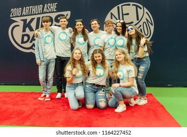 New York, NY - August 25, 2018: Shine MSD from Marjory Stoneman Douglas High School poses during US Open Championship Kids Day at USTA Billie Jean King National Tennis Center Arthur Ashe stadium