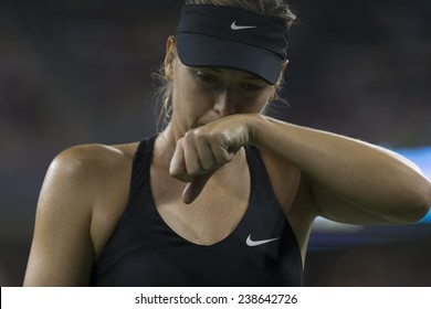 NEW YORK, NY - AUGUST 25: Maria Sharapova of Russia reacts during 1st round match against Maria Kirilenko of Russia at US Open tennis tournament in Flushing Meadows USTA Tennis Center 2014