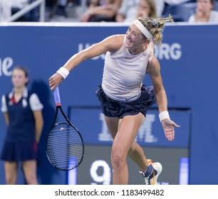 New York, NY - August 27, 2018: Victoria Azarenka of Belarus serves during US Open 2018 1st round match against Victoria Kuzmova of Slovakia at USTA Billie Jean King National Tennis Center