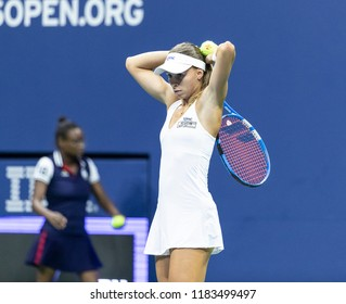 New York, NY - August 27, 2018: Magda Linette of Poland reacts during US Open 2018 1st round match against Serena Williams of USA at USTA Billie Jean King National Tennis Center