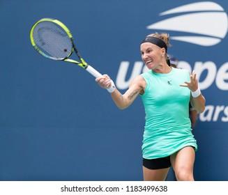 New York, NY - August 27, 2018: Svetlana Kuznetsova of Russia returns ball during US Open 2018 1st round match against Venus Williams of USA at USTA Billie Jean King National Tennis Center