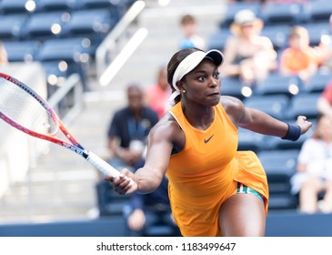 New York, NY - August 27, 2018: Sloane Stephens of USA returns ball during US Open 2018 1st round match against Evgeniya Rodina of Russia at USTA Billie Jean King National Tennis Center