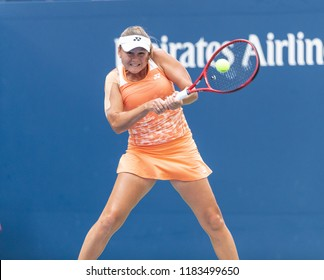 New York, NY - August 27, 2018: Evgeniya Rodina of Russia returns ball during US Open 2018 1st round match against Sloane Stephens of USA at USTA Billie Jean King National Tennis Center