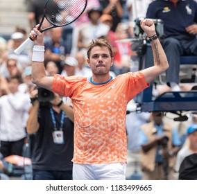 New York, NY - August 27, 2018: Stan Wawrinka of Switzerland celebrates victory in US Open 2018 1st round match against Grigor Dimitrov of Bulgaria at USTA Billie Jean King National Tennis Center