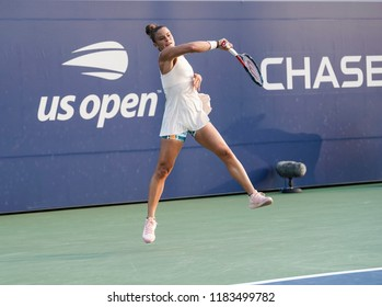 New York, NY - August 27, 2018: Maria Sakkari of Greece returns ball during US Open 2018 1st round match against Asia Muhammad of USA at USTA Billie Jean King National Tennis Center