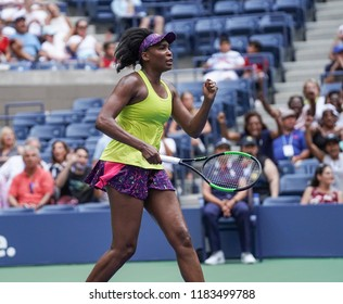 New York, NY - August 27, 2018: Venus Williams of USA reacts during US Open 2018 1st round match against Svetlana Kuznetsova of Russia at USTA Billie Jean King National Tennis Center