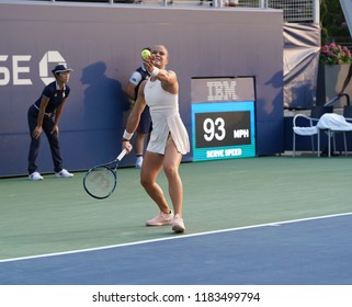 New York, NY - August 27, 2018: Maria Sakkari of Greece serves during US Open 2018 1st round match against Asia Muhammad of USA at USTA Billie Jean King National Tennis Center