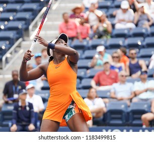 New York, NY - August 27, 2018: Sloane Stephens of USA reacts during US Open 2018 1st round match against Evgeniya Rodina of Russia at USTA Billie Jean King National Tennis Center