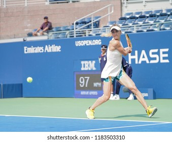New York, NY - August 27, 2018: Elina Svitolina of Ukraine returns ball during US Open 2018 1st round match against Sachia Vickery of USA at USTA Billie Jean King National Tennis Center