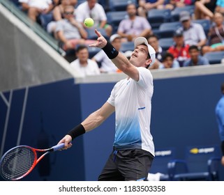 New York, NY - August 27, 2018: Andy Murray of Great Britain serves during US Open 2018 1st round match against James Duckworth of Australia at USTA Billie Jean King National Tennis Center