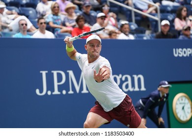 New York, NY - August 27, 2018: James Duckworth of Australia returns ball during US Open 2018 1st round match against Andy Murray of Great Britain at USTA Billie Jean King National Tennis Center
