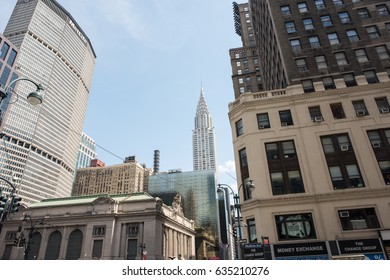 New York, NY: August 27, 2016: Grand Central Station and the Empire State Building in the background.  New York City is the largest city by population in the United States.