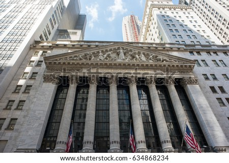 3ba07939 New York, NY: August 27, 2016: NYSE on Wall Street. The New York Stock  Exchange (NYSE) is the largest stock exchange in the world by market cap. -  Image